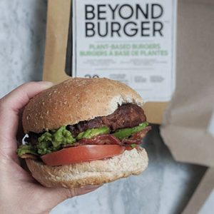 Homemade burger made from beyond burger meatless patty.