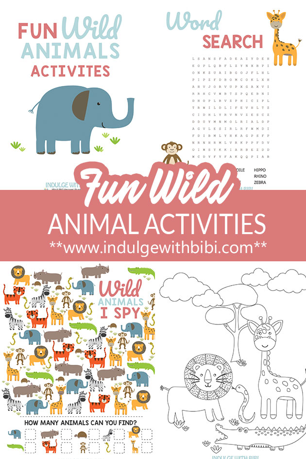 Wild animal worksheets.