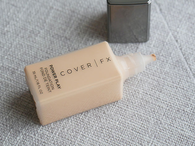Clean foundation from Cover FX in a rectangular bottle.