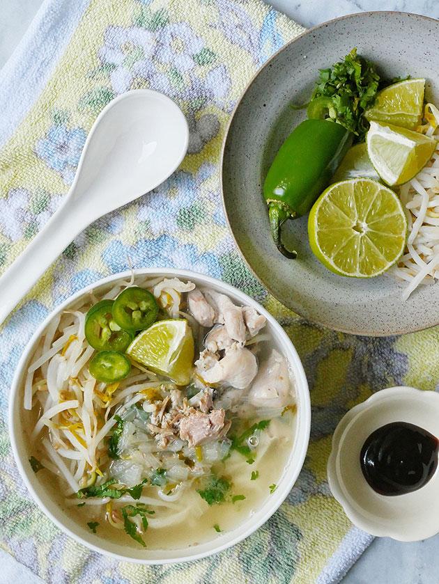 Close up of Vietnamese Crockpot Chicken Pho Soup.