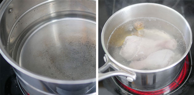 Water being boiled in a big pot, next photo shows chicken drumsticks parboiling in a small pot.