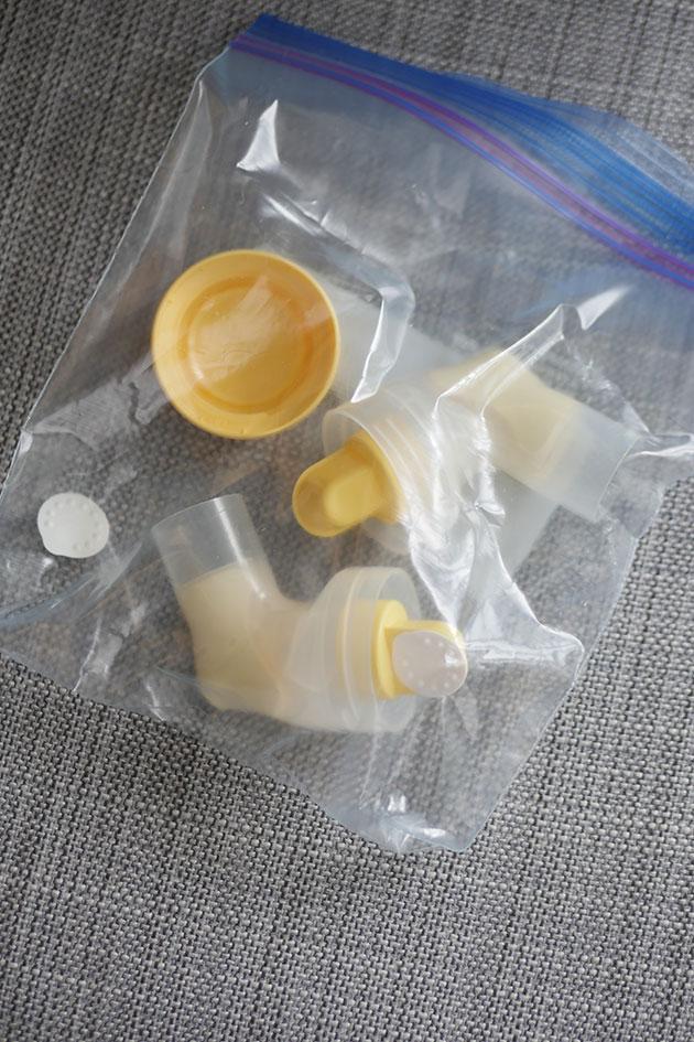 Extra pump parts inside a ziploc bag.