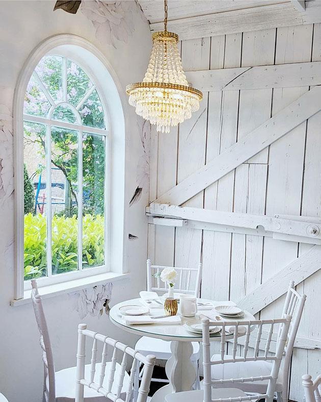 A clean white tea house interior.