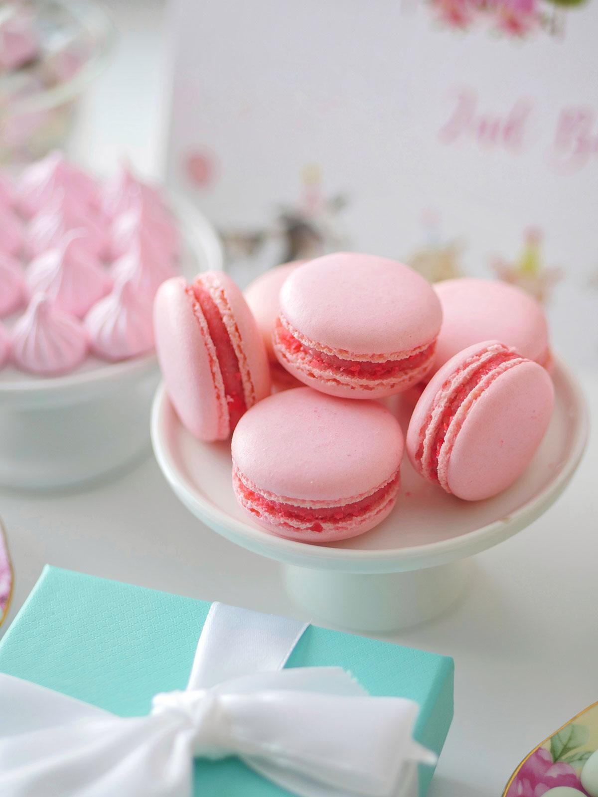 Macarons on a mini cake stand.