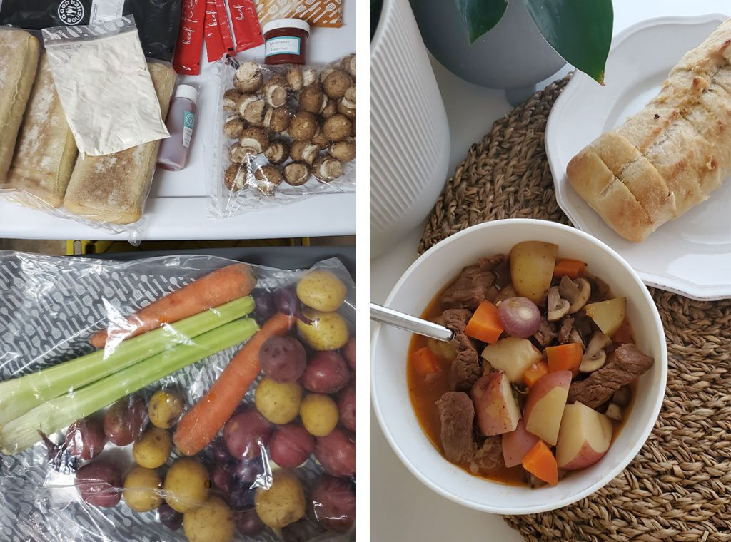 Ingredients and finished crockpot meal delivery kit from Good Food.