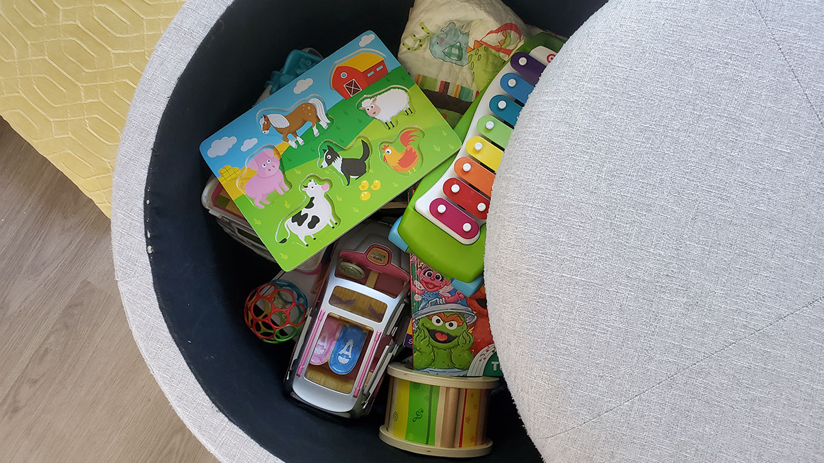 baby toddler toy storage ottoman.