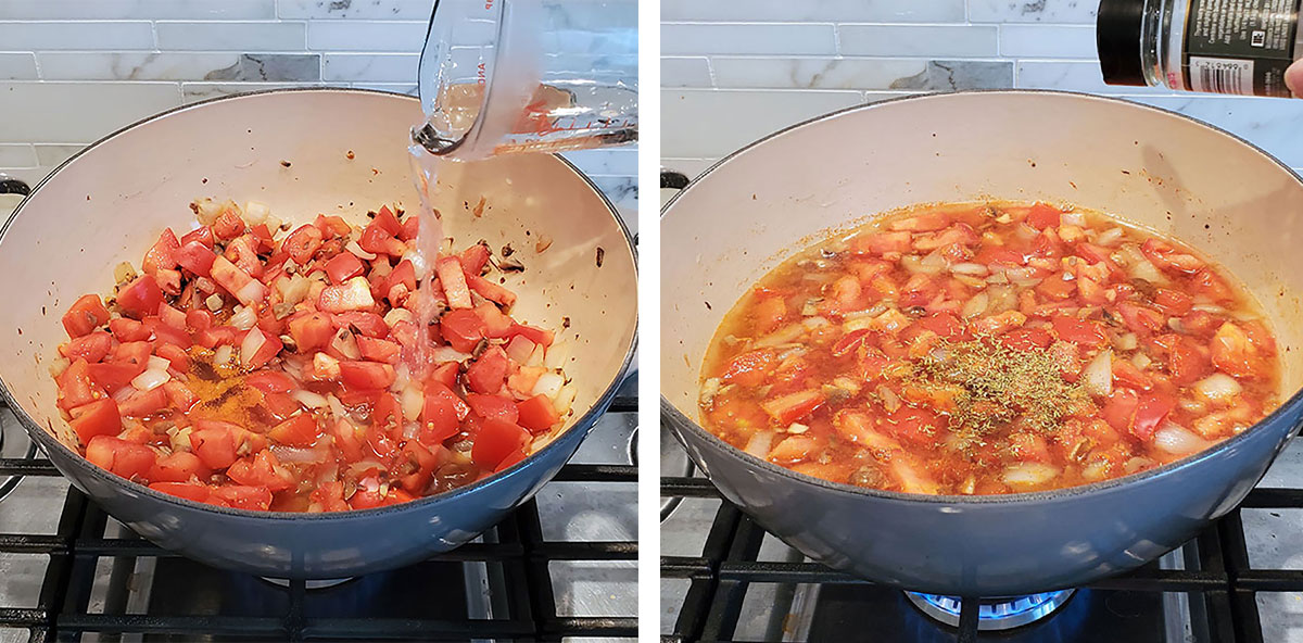 Tomatoes and mushrooms cooking in a large pot with thyme being added.