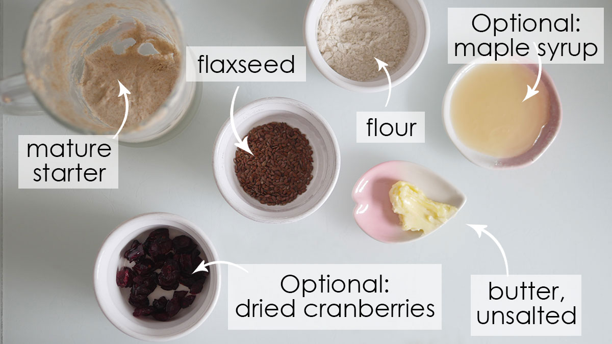Ingredients for Baby Sourdough Crackers on a counter.