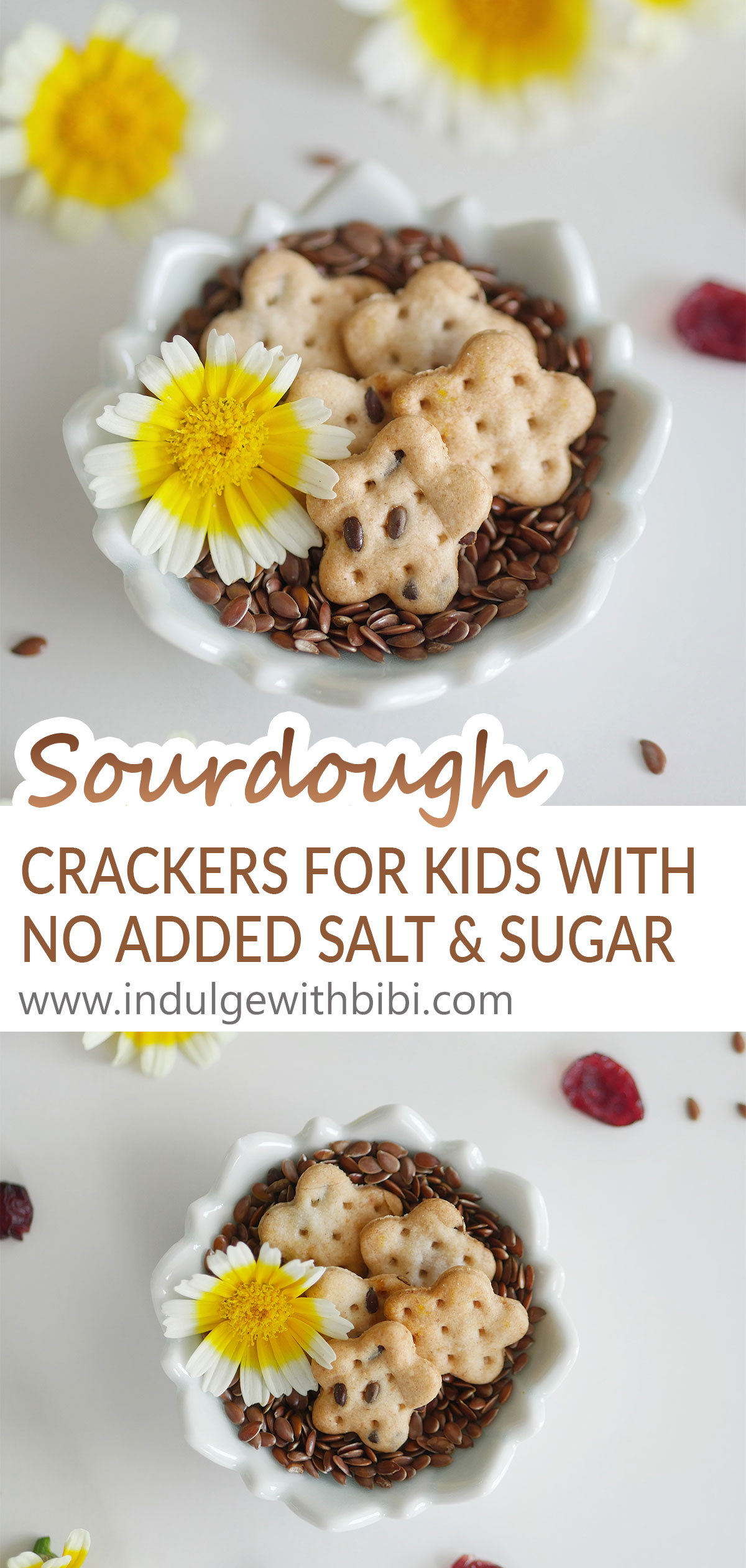 Small sourdough crackers on a bed of flaxseed in a small plate.